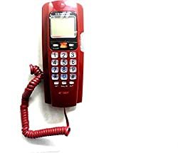 Italish Red Orientel KX-T555CID Landline Caller ID Phone Telephone Corded Phone for Office and Home Purpose