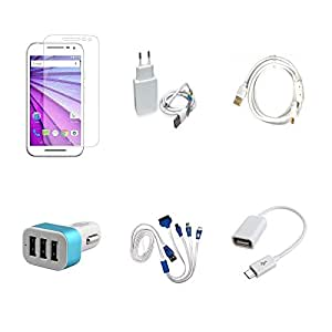 High Quality Combo of Moto G3 Temper Glass + 2 Amp USB Charger + Fast Charging Cable + Car Charger 3 USB + 4 in 1 USB Charging Cable