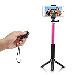 Accmor Rhythm Pro Extendable Handheld Monopod with Mini Tripod Stand and Bluetooth Remote Shutter for iOS & Android Smartphones, Digital and POV Cameras - Rose Red