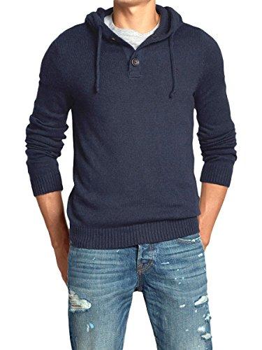 (アバクロンビー&フィッチ) Abercrombie & Fitch アバクロ メンズ フード付 ニット セーター [ネイビー/NAVY MOOSE刺繍] 並行輸入品 XXLサイズ