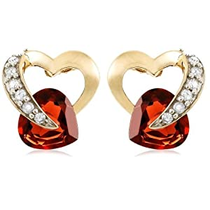 10k Yellow Gold Diamond and Garnet Heart-Shaped Earrings (.08 cttw, I-J Color, I2-I3 Clarity)