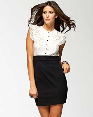 bebe Lace Romantic Ruffle Dress :  work dress dress