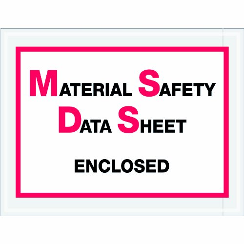 """Aviditi Pl99 Poly Envelope, Legend """"Material Safety Data Sheet Enclosed"""", 6-1/2"""" Length X 5"""" Width, 2 Mil Thick, Red/Black On White (Case Of 1000) front-131842"""