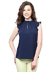 XNY Navy Blue Frill Collar Top