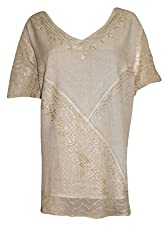 Indiatrendzs Women's Embroidered Rayon Short Sleeves Beige Top/Blouse Chest: 60