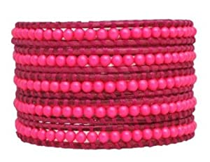 Chan Luu Neon Pink Wrap Bracelet on Dark Pink Leather