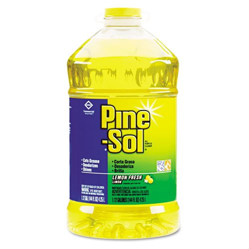 Clorox Products - Clorox - Pine-Sol All-Purpose Cleaner, Lemon Scent, 144 oz. Bottle - Sold As 1 Each - Powerful formula makes up to 72 gallons per bottle. - Cleans, deodorizes and shines hard, nonporous surfaces: no-wax floors, tiles, walls, sinks, countertops, microwaves, refrigerators, stoves, range hoods, deep fryers and more. - Fresh fragrance. - Ideal for food-service or industrial environments. -