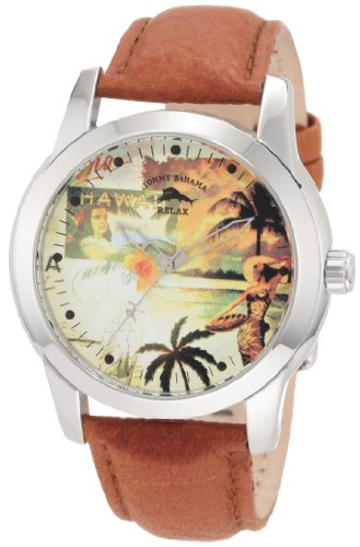 Tommy Bahama RELAX Men's RLX1148 Panelback Panelback Hula Graphic Analog Brown Watch