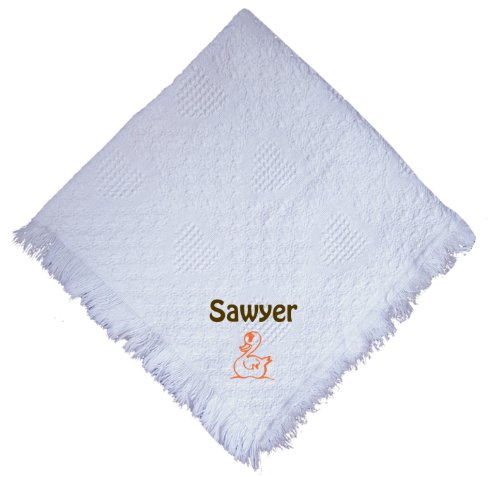 Duck White 100% Cotton Custom Embroidered Personalized Baby Blanket Green Thread front-984564