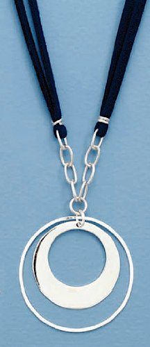 Double Strand Blue Suede Necklace, 1-3/4 inch Sterling Silver Double Ring Drop, 19 inch