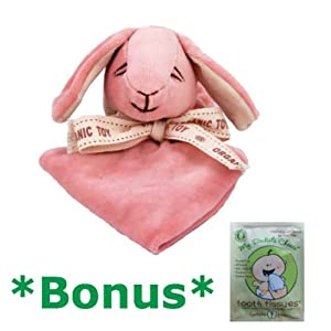 Miyim Simply Organic Lovie Blankie - Pink Bunny *BONUS* Tooth Tissue sample