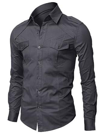 Mens Casual Shoulder Strap Pocket Slim Dress Shirts Cjl