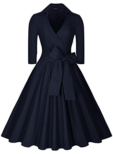 Miusol Women's Deep-V Neck Half Sleeve Bow Belt Vintage Classical Casual Swing Dress (X-Large, Navy Blue)