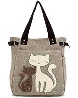 OURBAG Women Canvas Handbag Cute Cat Shoulder Bag Totes Shopping Bags