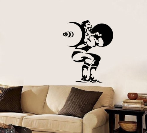 Housewares Wall Vinyl Decal Sport Man With A Barbell Squats Sportsman Home Art Decor Kids Nursery Removable Stylish Sticker Mural Unique Design For Any Room front-1067634