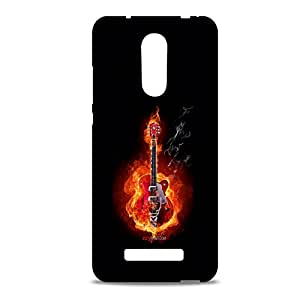 ezyPRNT Flaming Guitar Mobile Back Case Cover for Xiaomi Redmi Note 3