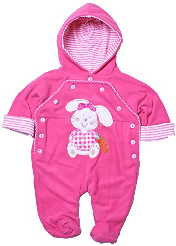 Coney Island - Baby Girl Warm Fleece Animal Footed Coverall-Fuchsia0/3 back-971539