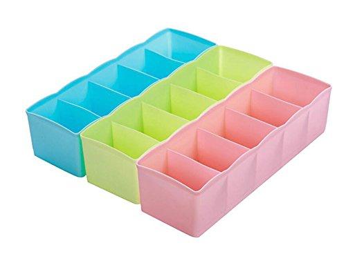 Westeng Lot de 3 Boîte de Rangement avec 5 Compartiment Séparé en Plastique Organiseurs de Tiroir Couleur Bonbon
