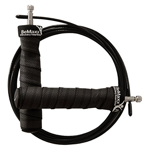 Springseil Speed Rope von BeMaxx Fitness + Trainingsguide & Extra Seil - 2 verstellbare Stahlseile, Profi Kugellager & Anti-Rutsch Griffe