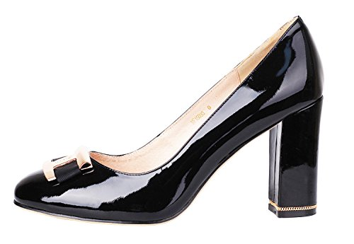 Verocara Women's Chunky Heel Ornament Decoration Genuine Leather Evening Dress Pumps Court Shoes BlackPatent 9 B(M) US