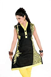 Sruti Women's Cotton Embroidered Black Kurti -( 262 )-42