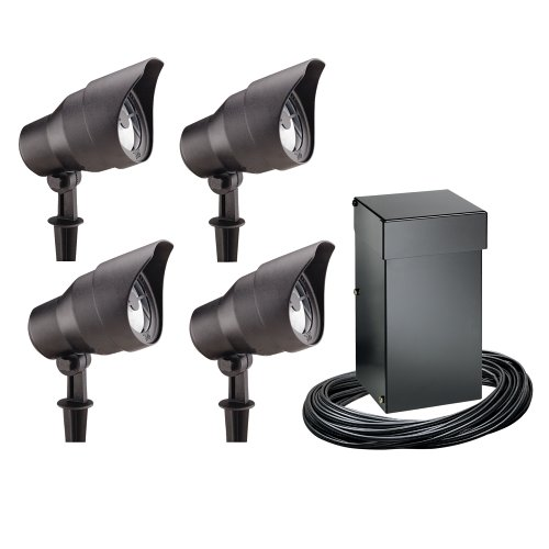 Buy Malibu 4-Pack Electric Landscape Lights plus 300-Watt Power Pack/Timer, Black #CL10304T