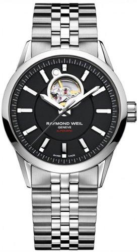 Raymond Weil - Reloj negro con correa de acero (Second-hand, cristal zafiro)