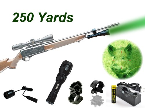 Orion H25-G 250 Yard Green Rechargeable Led Hog Hunting Light , Remote Pressure Switch, Universal Barrel Mount, Picatinny / Weaver Rail Mount & Charger Kit