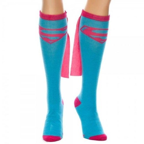 Dc Comics Supergirl Blue Knee High Sock with Pink Cape