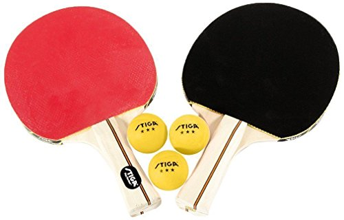 Stiga Performance 2 Player Set Ping Pong Racket New Table Tennis 3 Paddle