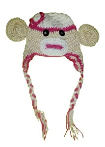 Baby Sock Monkey Crochet Beanie Hat - Boy & Girl Colors