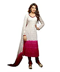 Rudra Fab White and Maroon Karachi work semi stitched salwar suit dress material