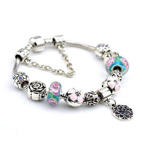 Gorgeous Jewelry Pink Flower Pendant Engraving Cherry Blossom Glass Beads Bracelets of Pandora Jewellery
