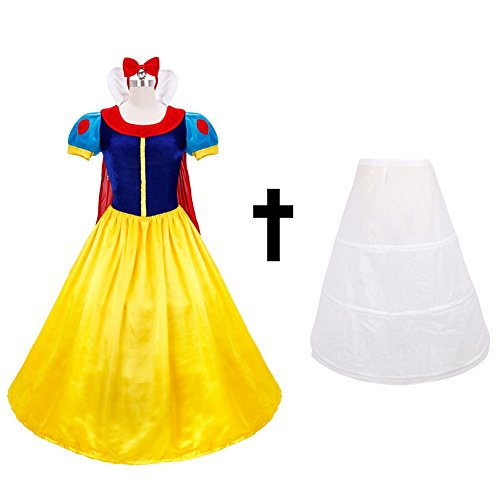 iEFiEL Adult Princess Queen Costume Dress Halloween Ball Gown Blue with Petticoat M (Fairy Tale Outfits For Adults)