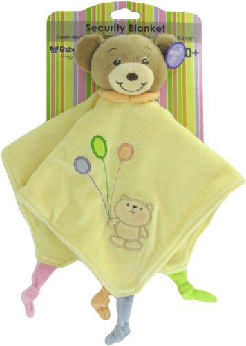 Baby Bow Teddy Bear Rattle Blanket in Yellow