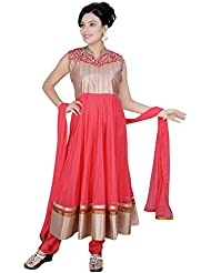Divinee Old Rose Art Silk Shimmer And Net Readymade Anarkali Suit