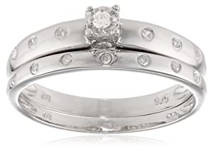 Sterling Silver Classic Diamond Bridal Set (1/10 cttw, I-J Color, I2-I3 Clarity), Size 8