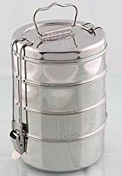 4- Tier Stainless Steel Lunch Box Food Container Indian Tiffin Round Carrier Set