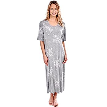 Patricia Women's Short Sleeve Floral Long Nightgown