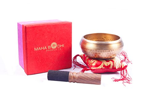 Maha Bodhi Tibetan Meditation Singing Bowl 4 Inch Set - Exquisite Resonance Sound for Relaxation and Healing - 100 % Hand Hammered With Buddha Figure Embossed (Crystal Singing Bowl Bag compare prices)