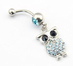 BODYA 316l Stainless Steel 14g Blue Crystal Retro Owl Dangle Navel Ring Belly Barbell Piercing Kit