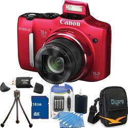 Images for Canon Powershot SX160 IS 16MP 16x Zoom Red Digital Camera 16GB Bundle