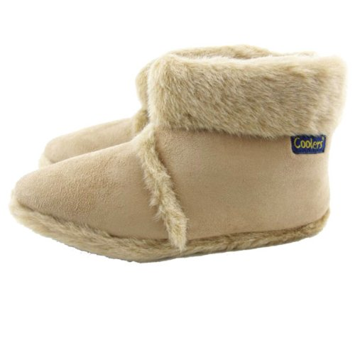 Mens Coolers Beige Furry Ankle Boot Slippers In Brown or Beige