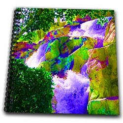 A Colorful, Vibrant waterfall with enhanced tones on the rocks - Memory Book 12 X 12 Inch
