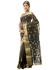 Banga Bhandar Traditional Pure Cotton Tant Black Saree For Women Without Blouse Piece(BT19)
