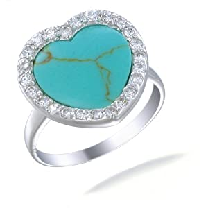 Sterling Silver Imitated Blue Turquoise Ring (15 MM Heart Shaped) In Size 5