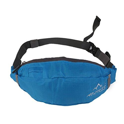 Oxford Hüfttaschen Stoff Fitness Taille Tasche Reißverschluss Beutel Gürtel Brieftasche Sport Reise (Blau)