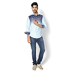 STRAK Mens' Pure Cotton White & Blue Abstract Dotted Designer Apple Cut Style Shirt With Full Sleeve Size:-M/40