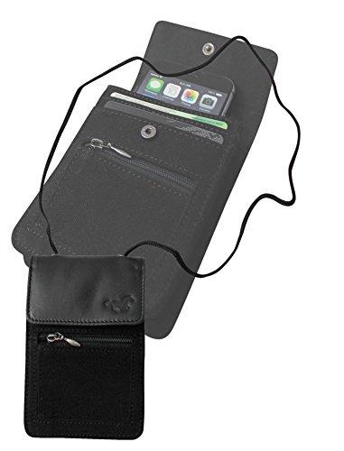 Tracolla Borsello da Viaggio Borsa Custodia Pelle Sacchetto del Collo. Prendete Cellulare (iPhone 6 Samsung Blackberry o 6 Plus) Titolare, Passaporto. Con la Protezione RFID