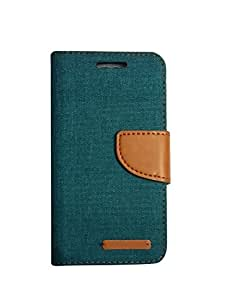Aart Fancy Wallet Dairy Jeans Flip Case Cover for MotorolaMotoE (Green) By Aart Store